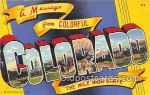 Large Letter State Colorado, USA Unused