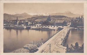 Switzerland Luzern Seebruecke und Bahnhof 1923 Photo