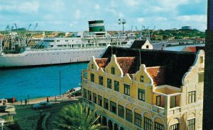 Curacao Grace Line Santa Cruiser Passing Entrance of Willemstad Harbor 07.32