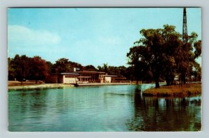 Detroit MI-Michigan, Flynn Memorial Building, Lagoon, Chrome c1956 Postcard