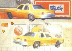 Art Postcard, New York, New York, Yellow Taxi Cab by Craif Yamey at YAM CN7