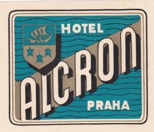 Czechoslovakia Praha Hotel Alcron Vintage Luggage Label sk4305