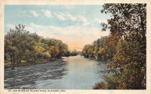 Elkhart Indiana~St Joe River at Island Park~Bridge in Distance~1917 Postcard