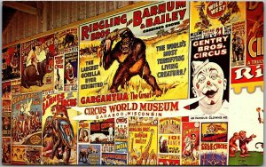 1966 Baraboo, Wisconsin Postcard CIRCUS POSTERS Ringling Brothers Barnum Bailey
