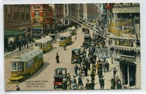 Hobble Skirt Streetcars Trams Broadway New York City NY 1914c postcard