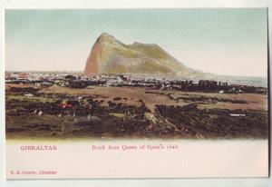 P753 old birdseye view gibraltar rock from queen of spain chair