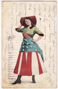 Lady America wearing a Flag