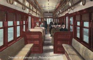 PHILADELPHIA , Pa. , 1900-10s ; Interior of Elevated Railroad Car