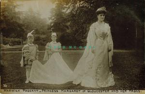 1910 Warwick England RPPC: Princess Margaret of Gloucester & Pages at Pageant