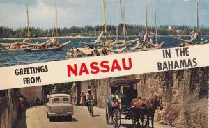 Fishing Ships and Village View, Nassau, Bahamas, 1940-1960s