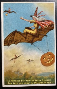 Mint Usa Picture Postcard Cover Witch On Broomstick Halloween Night