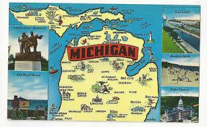 Michigan State Map with Views Vintage 1960s Multiview Postcard