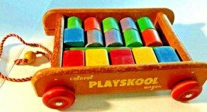 Original Vintage Colorol Playskool Wagon Wood 18 Pieces Building Toys SKU080-047