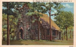 Roanoke Island, NC, Chapel at Restored Fort Raleigh, 1942 Vintage Postcard g785