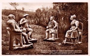 AYR SCOTLAND~STONE FIGURES OF TAM O'SHANTER-SOUTER JOHNNIE~PHOTO POSTCARD