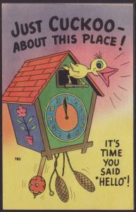 Just Cuckoo,Cuckoo Clock,Comic Postcard
