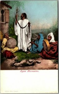 Vintage 1900s French Postcard TYPES MOROCAINS Moroccan Men / Musicians Unused