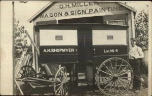 G.H. Miller Wagon Sign Painting Proud Man NY? OCCUPATION Real Photo Postcard