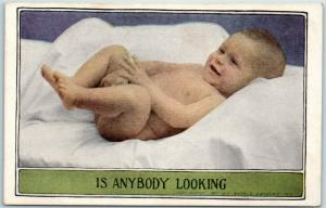 c1910s Comic Greetings Postcard Baby Covering Private Parts IS ANYBODY LOOKING