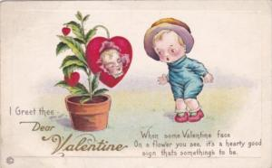 Valentine's Day Red Heart With Girl's Face 1917