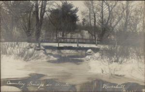 Haverhill MA Country Bridge in Winter c1910 Real Photo Postcard