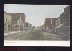 CHEROKEE IOWA DOWNTOWN MAIN STREET SCENE ANTIQUE VINTAGE POSTCARD STORES