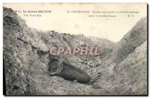 Postcard Old Army in Champagne unexploded bomb at the farm d & # 39Alger