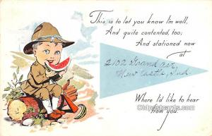 Military Comic Postcard, Old Vintage Antique Post Card I'm Well 1918