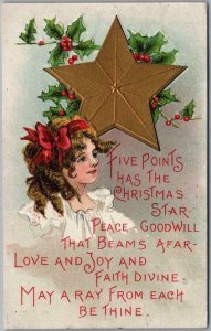 1912 CHRISTMAS Embossed Postcard Artist-Signed H.B. GRIGGS Gold Star Holly