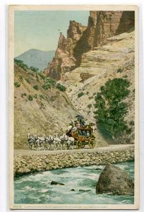 Stage Coach Gardiner River Canyon Yellowstone National Park WY Phostint postcard