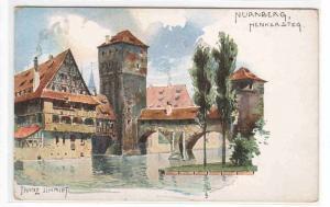 Henkersteg Nurnberg Germany Art Artist Signed Franz Schmidt 1910c postcard