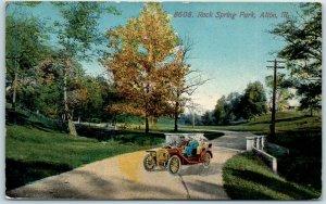 Alton, Illinois Postcard ROCK SPRING PARK Automobile Scene w/ 1922 Cancel