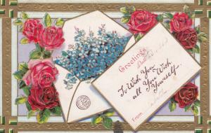 SWASTIKA Good luck Rose Flowers Greeting , 1910