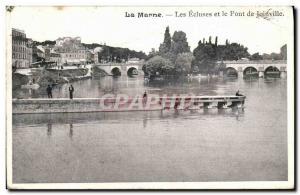 Old Postcard Joinville La Marne Locks and Joinville Bridge