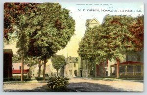 La Porte Indiana~Monroe Street Business~Methodist Episcopal ME Church~1909 PC