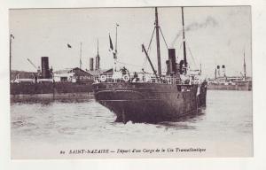 P928 old card cargo transatlantic ship and harbor saint - nazaire france