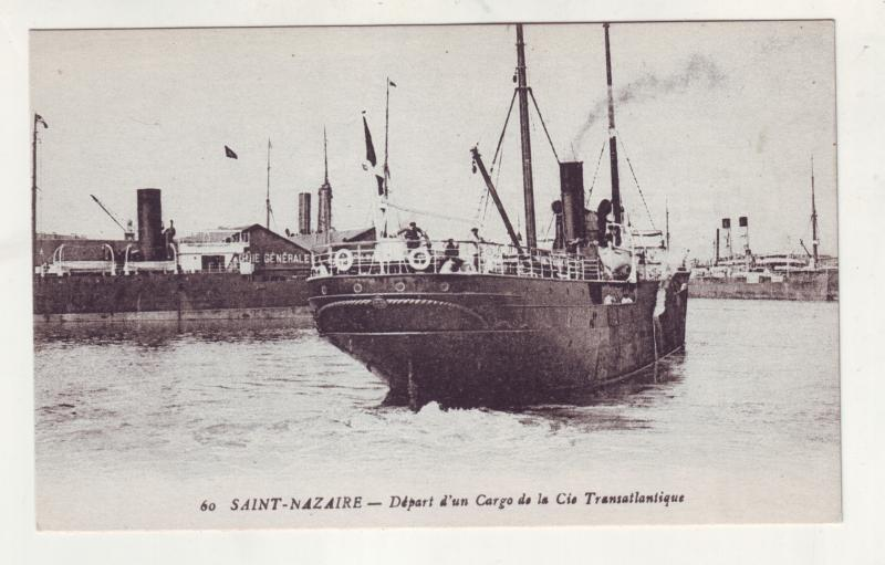 P928 old card cargo transatlantic ship and harbor saint - nazaire france