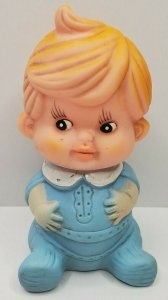 1960s Blonde Baby Boy Blue Pjs Cowlick Squeaky Rubber Toy Korea Belly