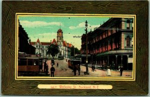 Vintage AUCKLAND New Zealand Postcard Wellesley Street Trolley Cars c1910s