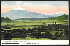 Trees Fields & Popocatepetl & Ixtaccihuatl Mountains MEXICO Unused c1910s