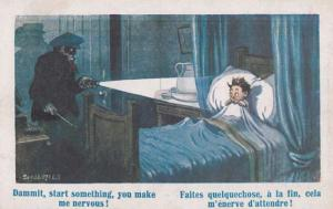 Peeping Tom Robber In Wrong Bedroom Antique French Comic Humour Postcard