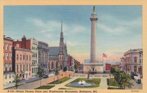 Maryland Baltimore Mount Vernon Place and Washington Monument Curteich