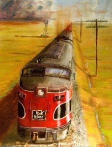 Trains Rock Island CRI & P Alco FA Locomotives Pull Long Freight Train Near T...