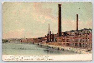 Lowell Massachusetts~Mills on Merrimac River~Bridge in Distance~1907 Rotograph