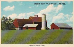 Minnesota Hello From Faribault Peaceful Farm Scene 1970