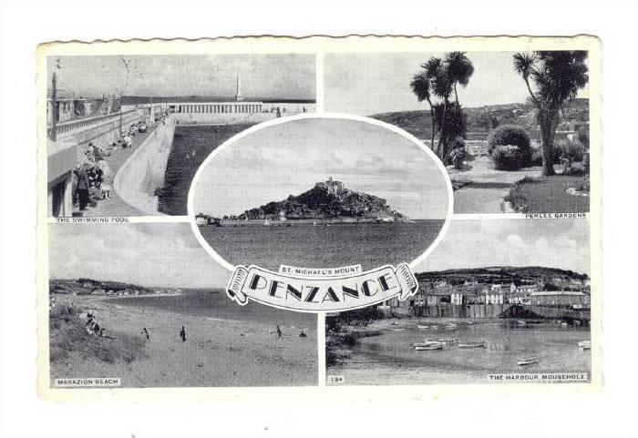 Penzance (also Penzans) , Cornwall, England, PU-1962; 5-view postcard