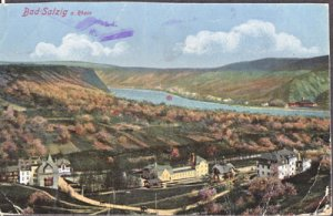 BAD SALZIG - VIEW of the small town Bad Salzig at the Rhine river - 1910s