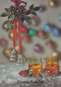 Poland Christmas Bells Red Ribbon Brandy Glass Polish Happy Christmas Postcard