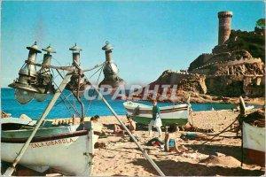 Postcard Modern Tossa de Mar Costa Brava Detail of the Beach