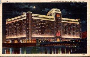Illinois Chicago Merchandise Mart By Night 1935 Curteich